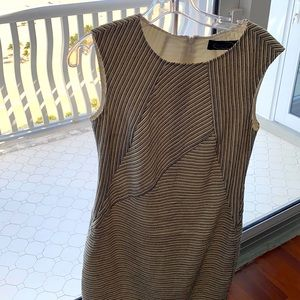 Magaschoni dress white black beige stripe. Size S.